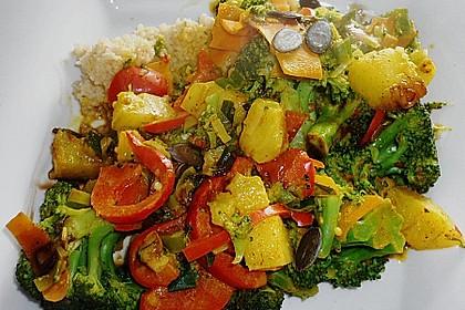 Mango - Gemüse - Pfanne mit Pilzen 1
