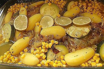 Spanische Hähnchenpfanne mit Kartoffeln und Zucchini 4