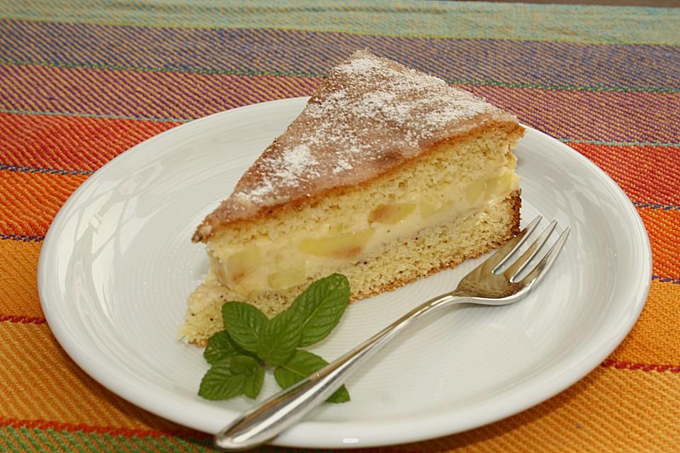 Apfel Griess Torte Mit Zitronenglasur Von Landmaus Chefkoch De