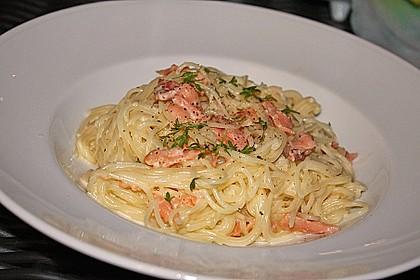 Lachsspaghetti à la Carbonara