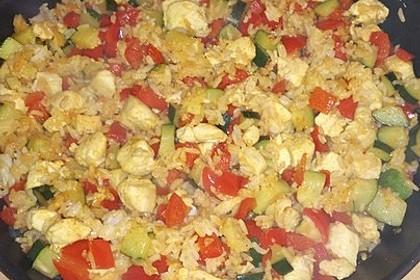 Puten - Reis Pfanne mit Paprika und Zucchini 8