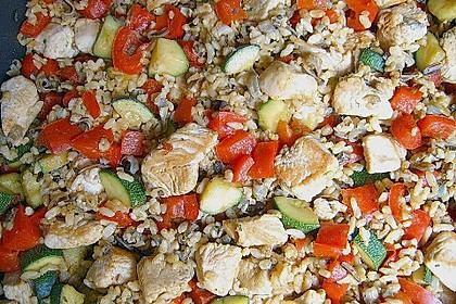 Puten - Reis Pfanne mit Paprika und Zucchini 3