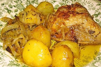Arabisches Zitronen - Knoblauch Huhn mit Kartoffeln und Zwiebeln 3