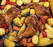 Hähnchenkeulen mit Rosmarinkartoffeln (Bild)