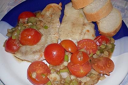 Schnelle Fisch - Gemüsepfanne mit Balsamico