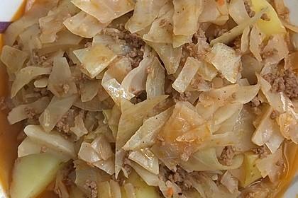 Kohl geschmort mit Hackfleisch 6