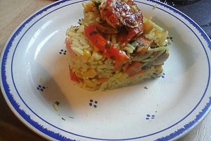 Bunter Gemüseauflauf mit Paprika, Champignons, Schinken und Reis 13