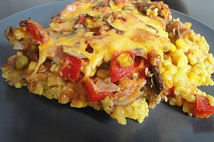Bunter Gemüseauflauf mit Paprika, Champignons, Schinken und Reis 2