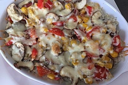 Bunter Gemüseauflauf mit Paprika, Champignons, Schinken und Reis 26
