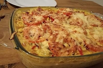 Bunter Gemüseauflauf mit Paprika, Champignons, Schinken und Reis 14
