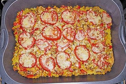 Bunter Gemüseauflauf mit Paprika, Champignons, Schinken und Reis 6