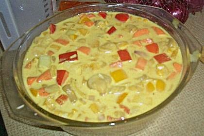 Bunter Gemüseauflauf mit Paprika, Champignons, Schinken und Reis 28