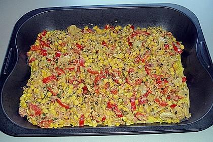 Bunter Gemüseauflauf mit Paprika, Champignons, Schinken und Reis 23