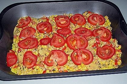 Bunter Gemüseauflauf mit Paprika, Champignons, Schinken und Reis 15