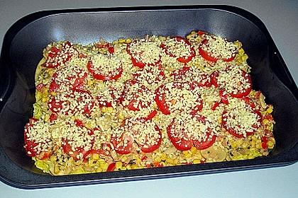 Bunter Gemüseauflauf mit Paprika, Champignons, Schinken und Reis 24