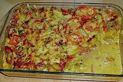 Bunter Gemüseauflauf mit Paprika, Champignons, Schinken und Reis 18