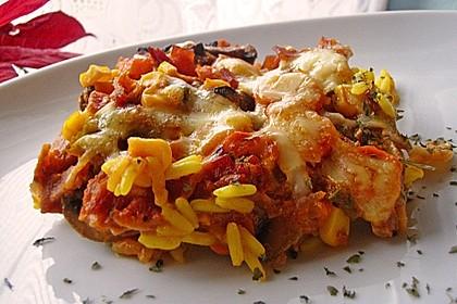 Bunter Gemüseauflauf mit Paprika, Champignons, Schinken und Reis 1