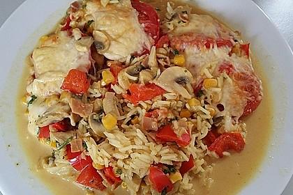 Bunter Gemüseauflauf mit Paprika, Champignons, Schinken und Reis 16