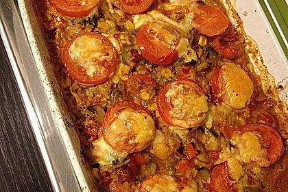 Bunter Gemüseauflauf mit Paprika, Champignons, Schinken und Reis 11