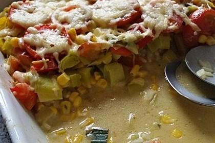 Bunter Gemüseauflauf mit Paprika, Champignons, Schinken und Reis 5