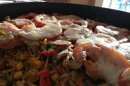 Bunter Gemüseauflauf mit Paprika, Champignons, Schinken und Reis 8