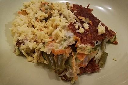 Bunter Gemüseauflauf mit Paprika, Champignons, Schinken und Reis 12