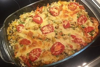 Bunter Gemüseauflauf mit Paprika, Champignons, Schinken und Reis 9