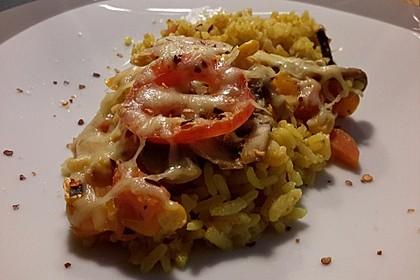 Bunter Gemüseauflauf mit Paprika, Champignons, Schinken und Reis 7