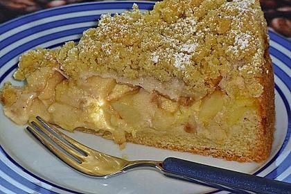Apfel - Streuselkuchen mit Pudding