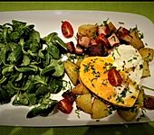 Leberkäse-Kartoffel-Pfanne mit Spiegelei (Bild)