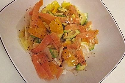 Avocado - Orangensalat mit geräuchertem Wildlachs
