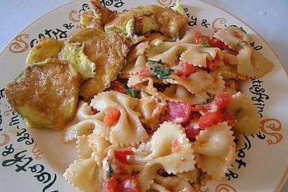 Zucchini – Piccata auf Tomatenkompott mit Rucolapesto und Nudeln 30