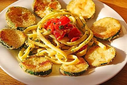 Zucchini – Piccata auf Tomatenkompott mit Rucolapesto und Nudeln 1