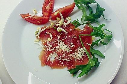 Thunfisch - Carpaccio mit Limone, Olivenöl und gehobeltem Parmesan 1