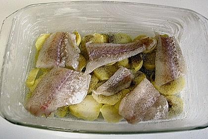 Kartoffel - Fisch - Auflauf mit Spinat 6