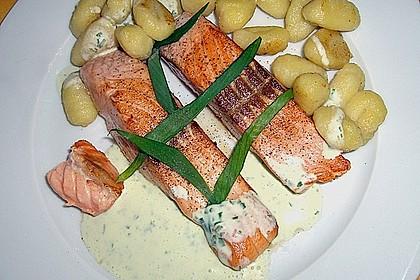 Gebratener Lachs auf Gnocchi mit Bärlauch - Frischkäse - Sauce 1