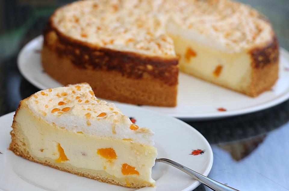Vanille Kase Kuchen Mit Pfirsichen