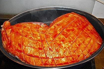 Krustenbraten vom Schwein mit Kartoffelpüree und Karamellsauerkraut 13