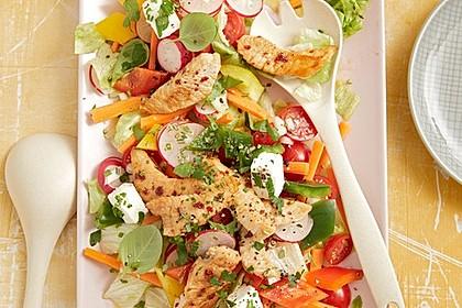 Bunter Salat mit scharfen Putenstreifen 14