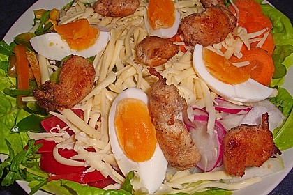 Bunter Salat mit scharfen Putenstreifen 12