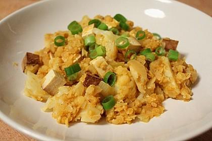 Blumenkohl - Linsen - Curry mit Tofu