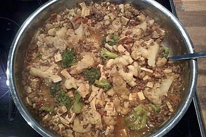 Blumenkohl - Linsen - Curry mit Tofu 1