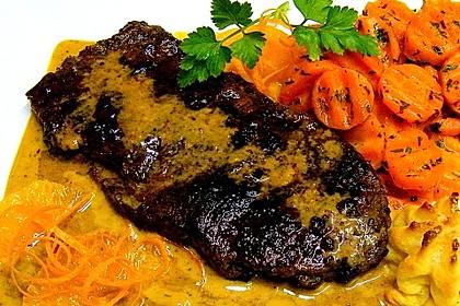 Rindersteak mit Orangen - Wacholder - Sauce
