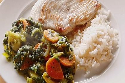 Putenschnitzel mit Apfel-Curry-Gemüse