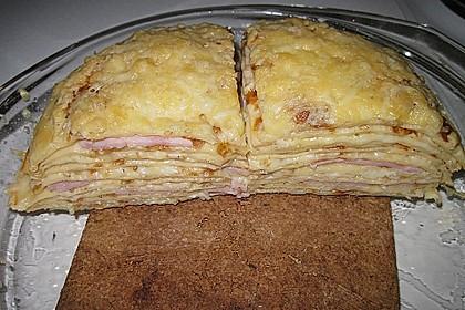 Pfannkuchen - Turm mit Schinken und Gouda 4