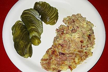 Gebratenes Kartoffelpüree mit Hausmacherleberwurst