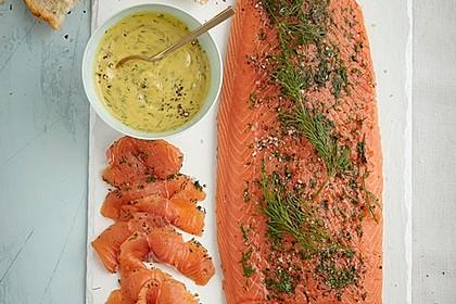 Lachs geräuchert mit süß - scharfer Senfsauce 2