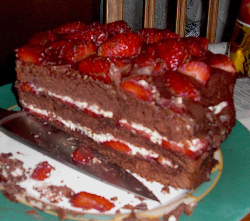 Schokoladen Erdbeer Torte Von Luckys Home Chefkoch De