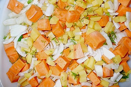 Süßkartoffel - Kartoffel - Fenchel - Auflauf 6