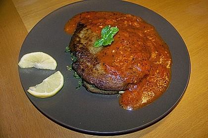 Auberginenpfannkuchen mit Spinatfüllung und Tomatensauce 1
